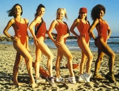 Baby Spice wearing platform shoes at the beach.   43 Reasons Why The Spice Girls Are The Best Girl Group Of AllTime