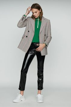 Maje, official US website. A ready-to-wear brand for women. Maje, Kimono, White Tennis Shoes, Le Prix, Plaid Blazer, Classic Outfits, Everyday Outfits, Winter Collection, Double Breasted