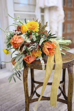 Gorgeous Fall Inspired Bouquet with Orange Tulips | Cinnamon & Paprika Color Story