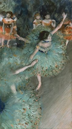 Swaying Dancer (Dancer in Green) [1877-79]. Edgar Degas (French, 1834-1917). Pastel and gouache on paper. Museo Thyssen-Bornemisza. The group of dancers is depicted in mid-performance, as viewed from an upper side box. Only one of the girls in green is shown full-length, captured as she executes a swift, complicated turn. Degas felt that the unfinished, transitory nature of reality could only be conveyed using a fragmented technique. Here, the fleeting nature of the movements is captured…