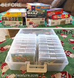 LEGO Storage/Organizing Jigsaw Puzzles | Between 3 Sisters  This is what I've been thinking of since I saw some scrap booking thin containers since we have jumbo puzzle pieces