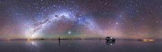 Astrophotography In Bolivia, Salar De Uyuni The Worlds Largest Salt Flat Creating A Beautiful Mirror Effect On Milky Way. (640x312)