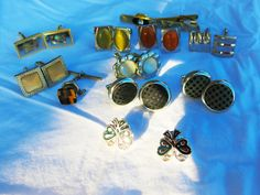 Unisex Cufflink Lot 9 pairs 1 tiger eye tack tie & 1  pin tie Fashion Jewelry