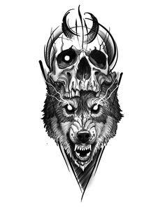 Head Tattoos, Skull Tattoos, Animal Tattoos, Cute Tattoos, Black Tattoos, Body Art Tattoos, Wolf Tattoo Design, Skull Tattoo Design, Tattoo Sleeve Designs