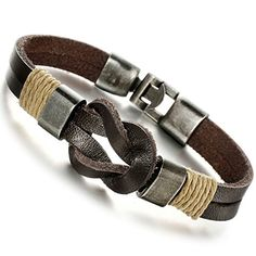 Jstyle Jewelry Men Leather Bracelet Brown Handmade Bracelets Rope * To view further for this item, visit the image link.