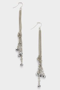CHAIN AND BEADS DANGLE EARRINGS (SILVER TONE) - $18.00