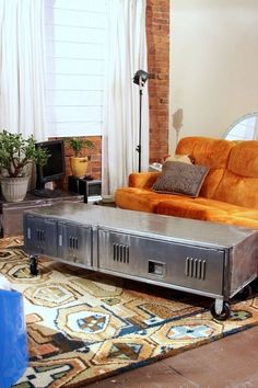 A vintage locker that's been repurposed into a seriously one-of-kind coffee table with built-in storage.