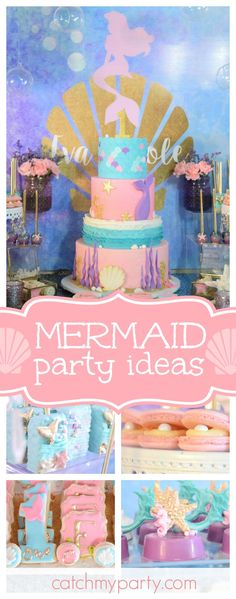 Such a gorgeous Mermaid 1st birthday party. The dessert table and decor are so beautiful!! See more party ideas and share yours at CatchMyParty.com