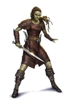 Female Half-Orc Rogue Fighter - Pathfinder PFRPG DND D&D 3.5 5th ed d20 fantasy