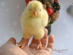 Chick Needle felted animal OOAK Tiny Baby Felted toy Christmas New Year Gift soft sculpture Fiber Art wool felting Miniature Ready to ship  Its a little yellow chick hatched, and has the name of Happiness))). He will grow up beautiful rooster, the symbol of 2017.  His appearance was inspired by the memory of my grandmother about the village, where you can hold and take care of those little yellow chickens wonderful memories ...)  His owners will bring a lot of happiness, love and prosperity…