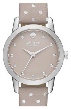 Women's kate spade new york 'mini metro' leather strap watch, 26mm