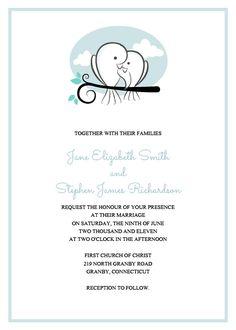Sweet Birds Wedding Invitation. For customizations, printableinvitationkits[at]gmail[dot]com