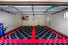 Mason installed the free-flow tiles in his garage for his two Porsches. The garage turned out spectacular! We love the black and graphite checkerboard pattern with the red borders Man Cave Garage, Garage Gym, G Floor, Tile Floor, Garage Floor Mats, Garage Floor Coatings, Checkerboard Pattern, Garage Makeover, American Made