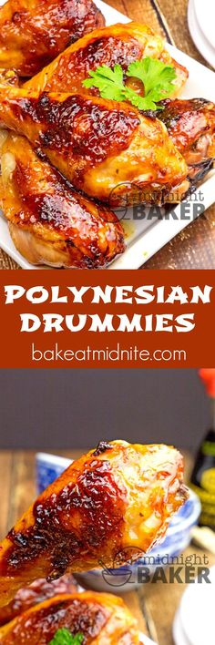 Polynesian-style sauce kicks up these chicken drumsticks. Use any chicken parts and also great for wings!