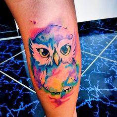 Resultado de imagem para tattoo coruja aquarela