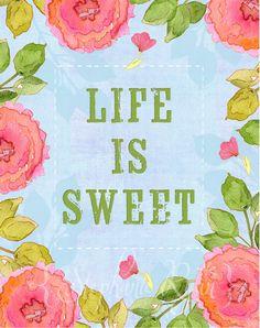 Acuarela ilustración impresión vida es dulce. por stephanieryanart, $22.00