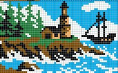 Lighthouse on a cliff on the sea with ship chart for cross stitch, knitting, knotting, beading, weaving, pixel art, and other crafting projects.