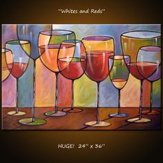 Amy Giacomelli Painting Abstract Modern Dining Room Decor Wine Glasses 36 X 24 Whites And Reds