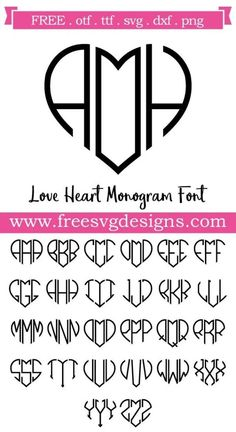Embroidery designs free projects monogram fonts 69 ideas for 2019 Silhouette Fonts, Silhouette Cameo Projects, Free Silhouette Designs, Silhouette Cameo Free, Embroidery Designs, Embroidery Fonts, Heart Font, Free Monogram, Monogram Letters