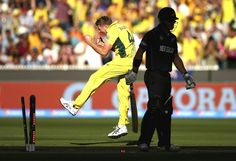 James Faulkner of Australia celebrates after taking the wicket of Corey Anderson of New Zealand during the 2015 ICC Cricket World Cup final match between Australia and New Zealand at Melbourne Cricket Ground on March 29, 2015 in Melbourne, Australia.