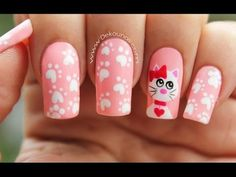 Deko uñas by diana diaz Cat Nail Art, Cat Nails, Fancy Nail Art, Fancy Nails, Nail Polish Designs, Nail Art Designs, Ruby Nails, Nail Bar, Nail Decorations