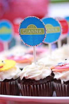 sesame street party - cupcake toppers