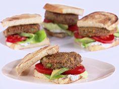 Egg Free Recipes - Lentil Burgers with Lemon-Basil Mayonnaise - Balanced High-Fiber Burger Recipes, Veggie Recipes, Vegetarian Recipes, Lentil Burgers, Vegan Burgers, Best Veggie Burger, Egg Free Recipes, Vegetarian Food, Eating Clean