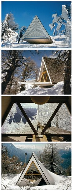 Images of Heidi and Peter Wenger's 1955 Trigon Chalet, Brig, Switzerland, after renovations in From A-Frame by Chad Randl. Triangle Windows / The Green Life A Frame Cabin, A Frame House, Micro House, Tiny House, Classification Des Arts, Forest House, Cabins And Cottages, Cabin Homes, Cabins In The Woods