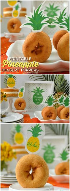 Pineapple Printable Cupcake Toppers | Pineapple party ideas | Easy donut topper