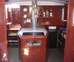 Inside galley of the vintage tug boat Restless. Sunset cruises on Lake Erie from Put-in-Bay, Ohio.