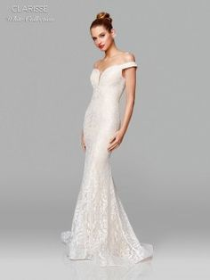 Clarisse White 600109 Off Shoulder Lace Destination Wedding Dress