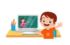 El niño pequeño lindo feliz hace la escu... | Premium Vector #Freepik #vector #escuela