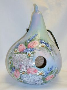 Hydrangea with Tulips Flower Garden Gourd by FromGramsHouse, $42.00
