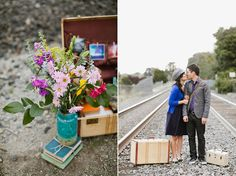 prop ideas - flower vase, vintage suitcases | vintage travel themed engagement | Jasmine Lee Photography