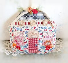 Fabric Cottage Ornament 5 House Pillow Door by CharlotteStyle