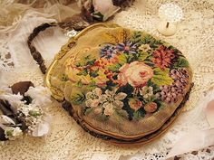 pretty vintage needlework purse