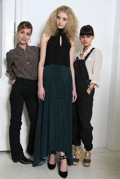 Sophie Buhai and Lisa Mayock with a model in an ensemble for fall.