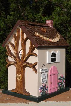 Small Wedding Card Box Cottage Birdhouse by mulberrylanefolkart, $149.00