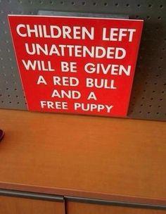 funny children left unattended sign