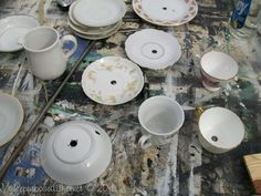 how to drill china for projects like a teacup and saucer lamp