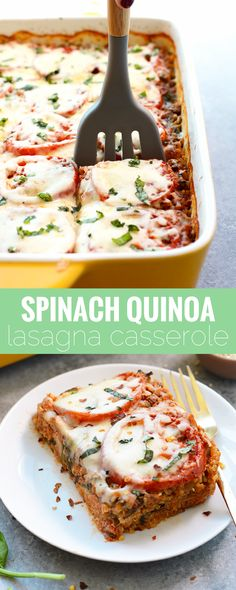 Check out this lightened up spinach quinoa lasagna casserole for a no-fuss, protein-packed dinner recipe that's gluten-free and filled with so much flavor! We love this recipe because it's a HEALTHY version of lasagna, the perfect meal for feeding a crowd! This recipe takes just 10 minutes to prep, then pop it in the oven and voila! One hour later you've got yourself a pan full of healthy comfort food that everybody will love!