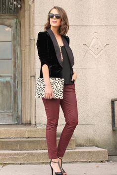 Velvet blazer + coated bordeaux jeans.... 100% my favorite color. get this look wth CAbi