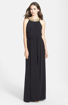Vince Camuto Beaded Neck Cutaway Maxi Dress available at #Nordstrom