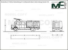 Mercedes-Benz LF 1113 B/42 als Tankloschfahrzeug TLF 16 mit Wasserwerfer Aufbau Fa. Bachert, Hamburger Feuerwehr '1974 - blueprints (ai, cdr, cdw, dwg, dxf, eps, gif, jpg, pdf, pct, psd, svg, tif, bmp)