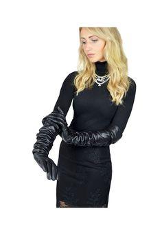 Black long leather opera gloves   Henry Hunt   ASOS Marketplace