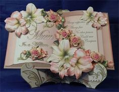 Mum in a Million - Book Bouquet,  10½ x 7½ boxed decoupaged plate style card. Available from: www.therhodaharveycollection.co.uk