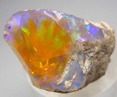 Opal from Welo, Ethiopia, showing purple and green fire