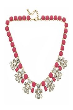 """The perfect piece for a casual tee or the very best couture, the our Fornash Courtney Necklace features color and clear crystals in a stunning pattern. The bubblegum pink stones make this the perfect necklace for spring and summer outfits!    Necklace is approximately 16.5"""" long.   Bubblegum Pink Necklace by Fornash. Accessories - Jewelry - Necklaces - Statement Necklaces Pennsylvania"""