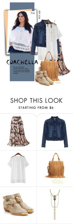 """""""Coachella - Pretty Boho Plus-Size Style"""" by beebeely-look ❤ liked on Polyvore featuring Zizzi, Balmain, Bohemian, coachella, plussize, springdate and rosegal"""