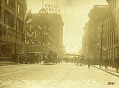 A view of Clinton Avenue, Rochester, NY and the Seneca Hotel.
